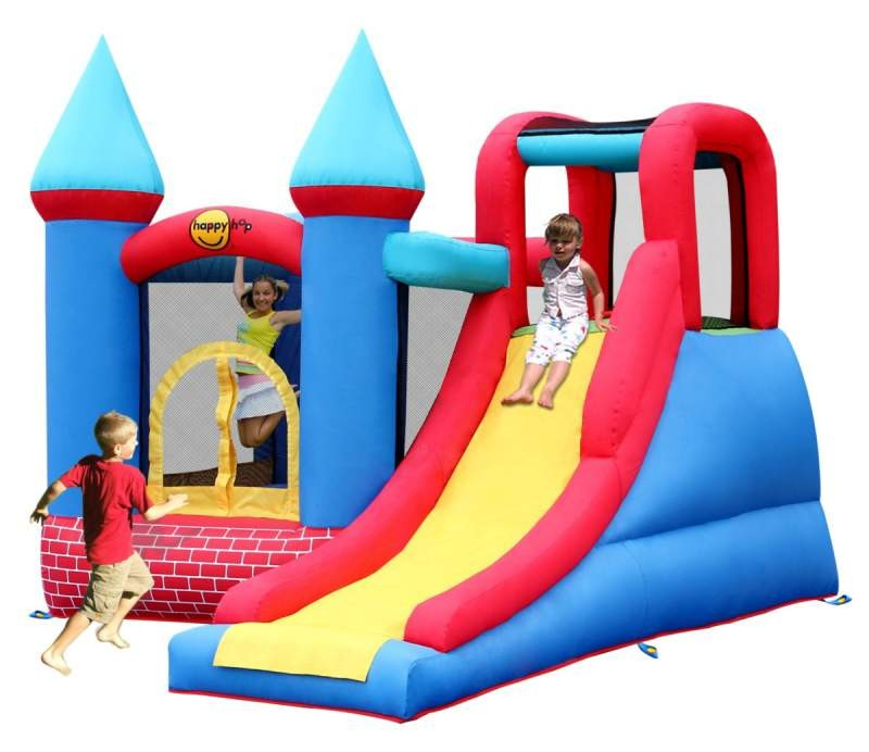 Bouncy castle and inflatable slide red bricks inflatable for Happy hop inflatable water slide
