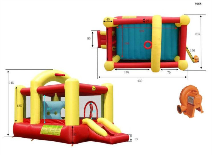 Happy hop multifunctional 14ft bouncy castle with slide ebay for Duplay happy hop