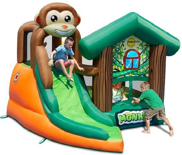 Bouncy castle and inflatable slide bounce house monkey for Happy hop inflatable water slide