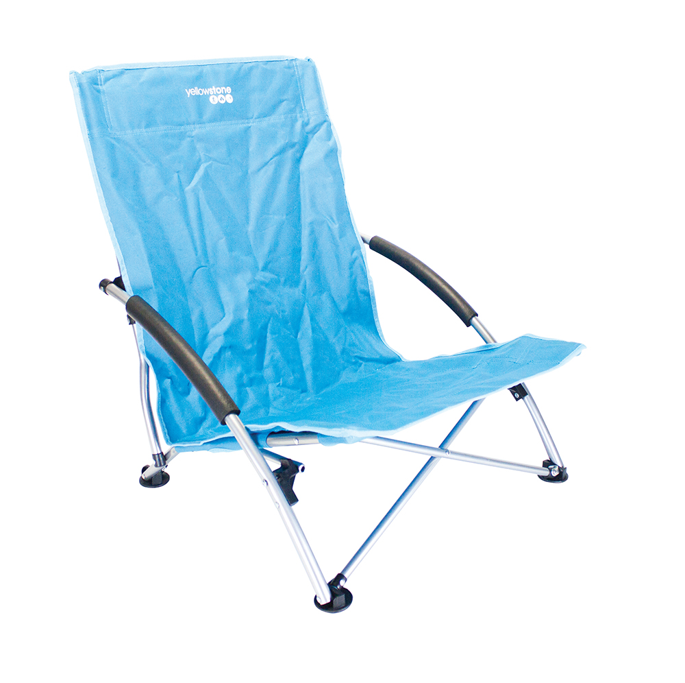 Low Profile Folding Camping Chair 66 X 55 5 X 65cm Blue Green Yellowstone Ebay