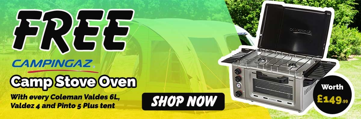 Special offer - Coleman 6 Man Fastpitch Air Valdes Tent XL - Green + Free stove oven
