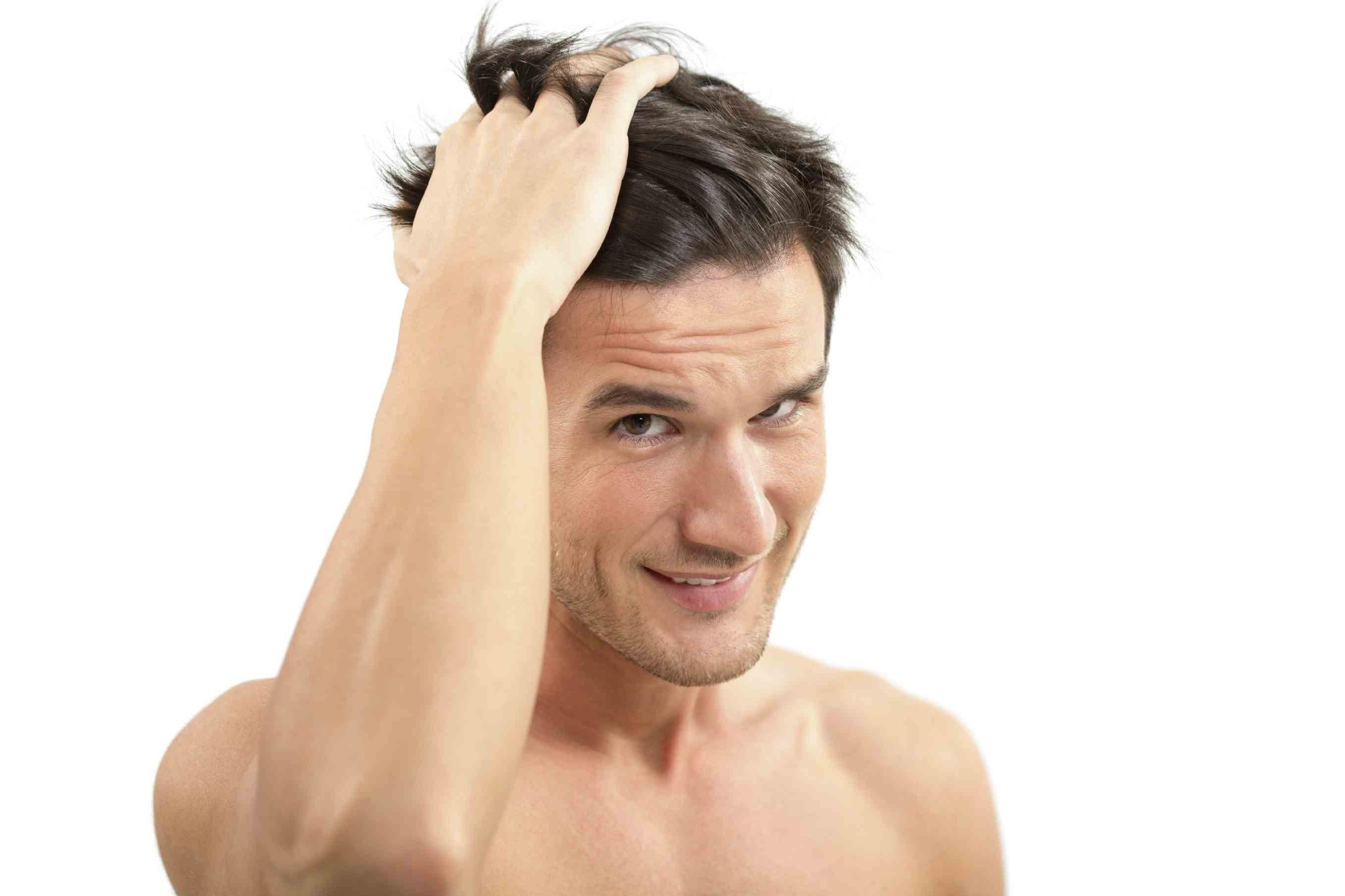 Man styling his hair
