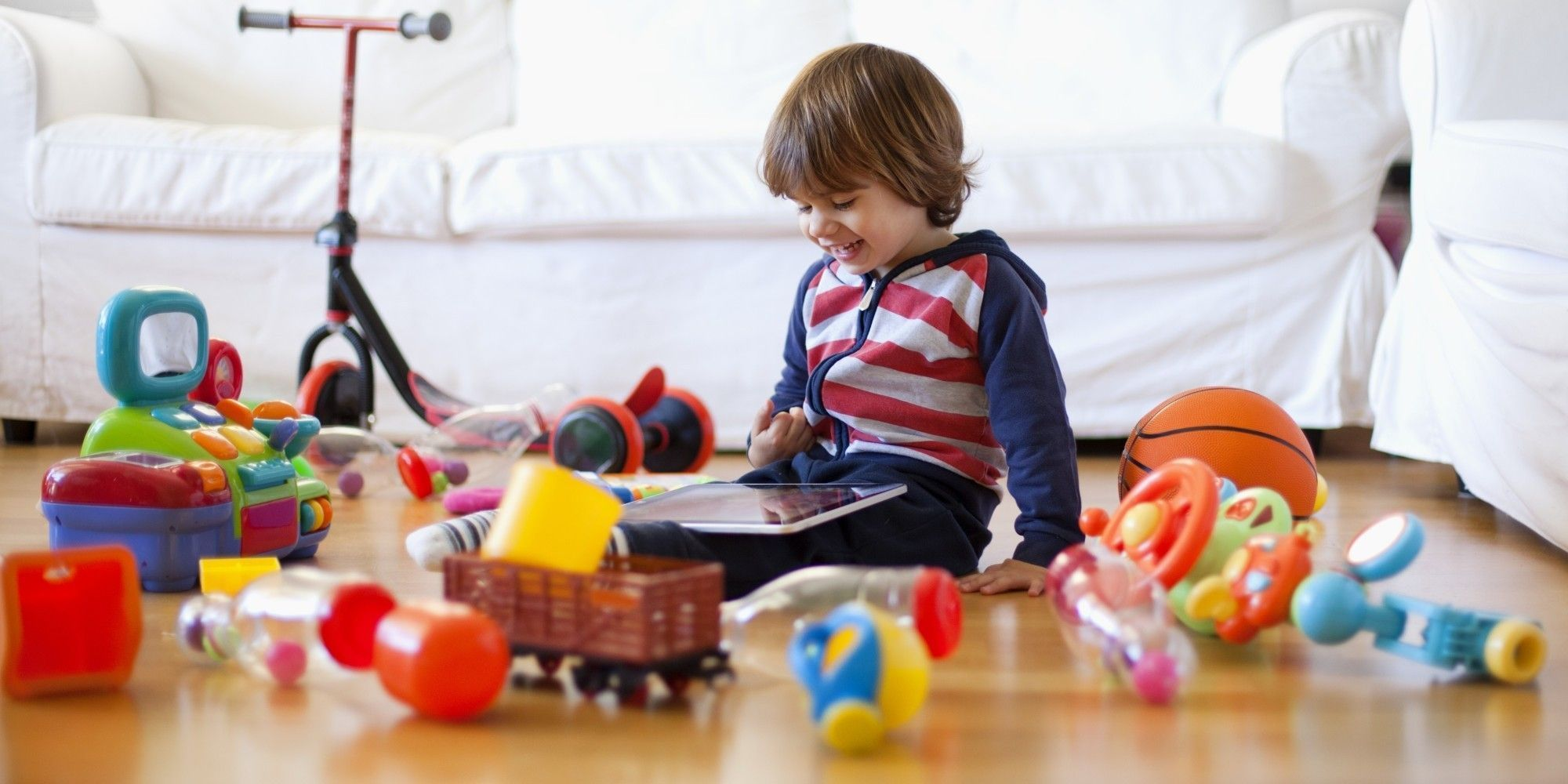 Kid playing with toys